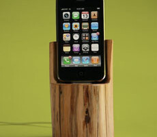 Wood Log iPhone/iPod docking station