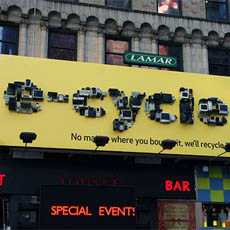 Times Square Recycle Billboard Made From Recyclables