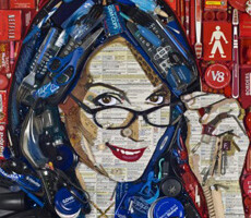 Tiny Fey Mosaic Portrait Made of Gadgets