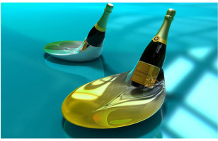 Champagne Bottle Stand + Plate = Fancy