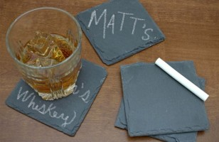 Keep Track Of Your Drink With Chalkboard Slate Coasters