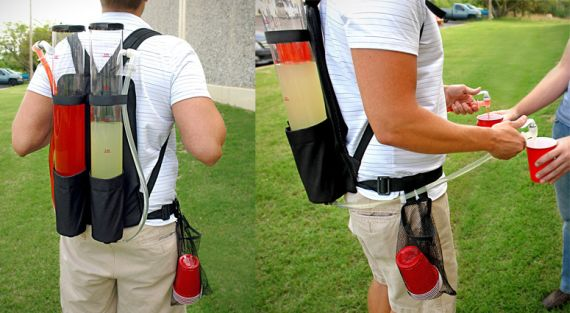 Make Mixed Drinks On The Go With The Tailgater Dual Tank Back Pack Drink Dispenser