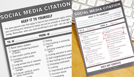 Oversharer? Lurker? Hand Out A Social Media Citation | Incredible Things