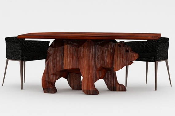 Check out this beary cool table incredible things for Unique wood dining room tables