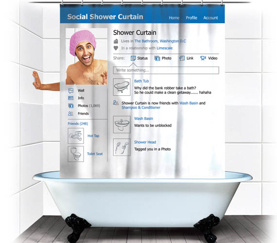 The Social Shower Curtain Cleans Up Your Facebook Profile