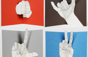 Hand Gesture Pop-Up Greeting Cards