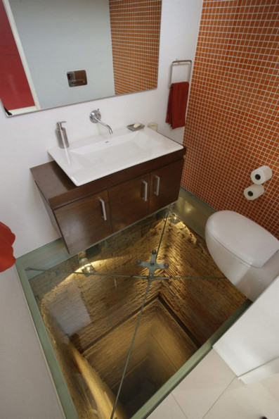 Bathroom Overlooking 15-Story Drop
