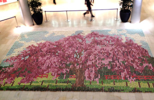Cherry Blossom Mosaic Made Of Cupcakes