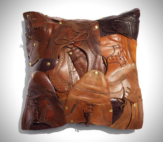 Throw Pillows Made From Leather Shoes