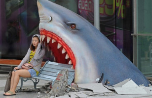 Fufufufuuuuu — Shark Attack Park Bench