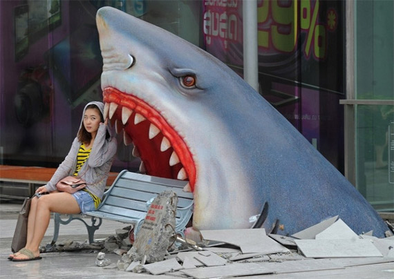 Fufufufuuuuu -- Shark Attack Park Bench