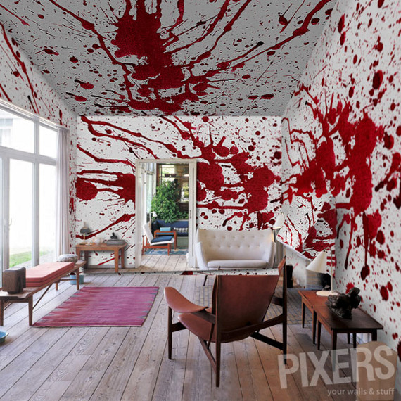 For the wannabe axe murderer bloody wall paper for Blood in blood out mural