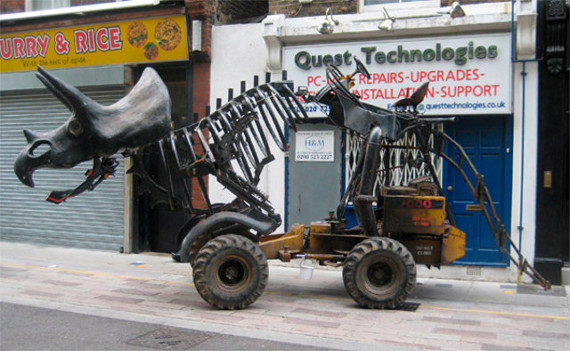 Triceratractor: A Triceratops On A Tractor