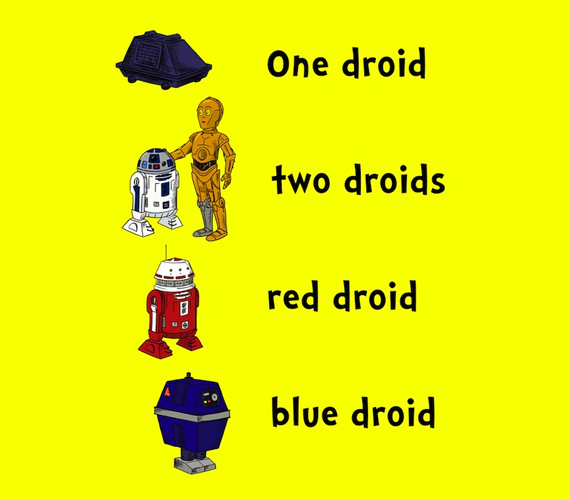 One Droid Two Droids Red Droid Blue Droid