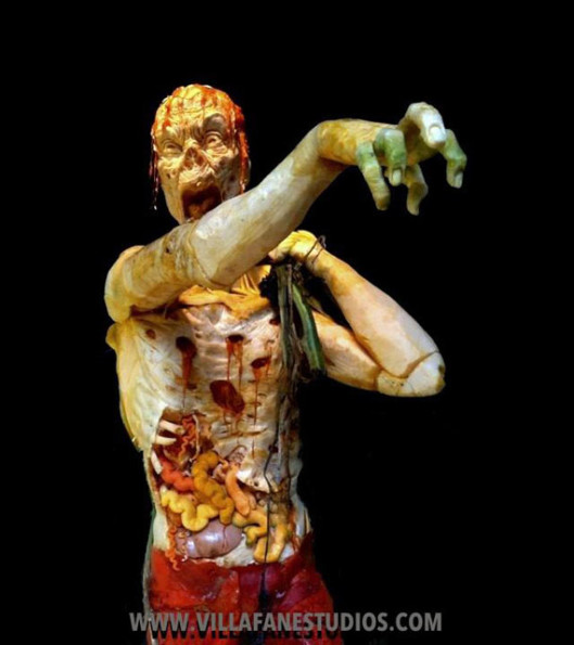 Zombies Carved From Giant Pumpkins