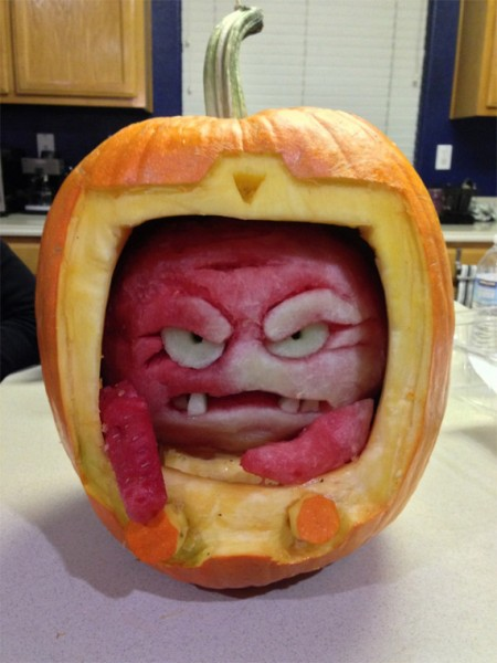 Krang Carved Out Of A Watermelon In A Pumpkin