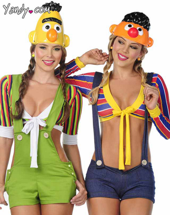 Bert and Ernie don't have breasts or exposed stomachs. They're gay ...