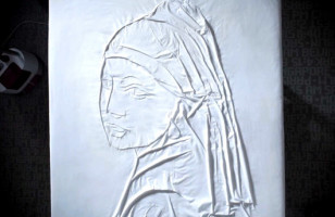 Artist Irons Classic Paintings In Fabric