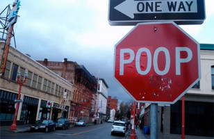 Poop Stop Sign Vandalism