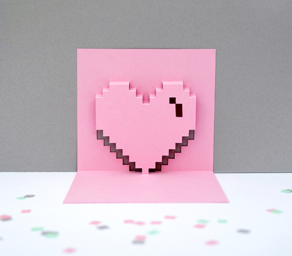 Express Geek Love With DIY Pop-Up Pixel Valentines