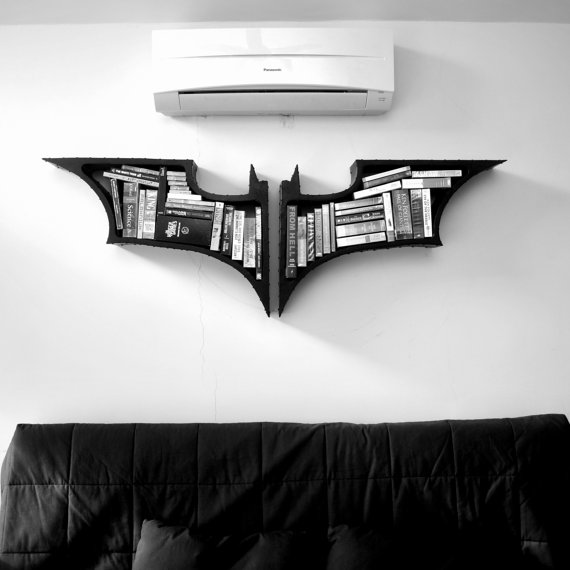 A Bookshelf Perfect For The Batcave Library