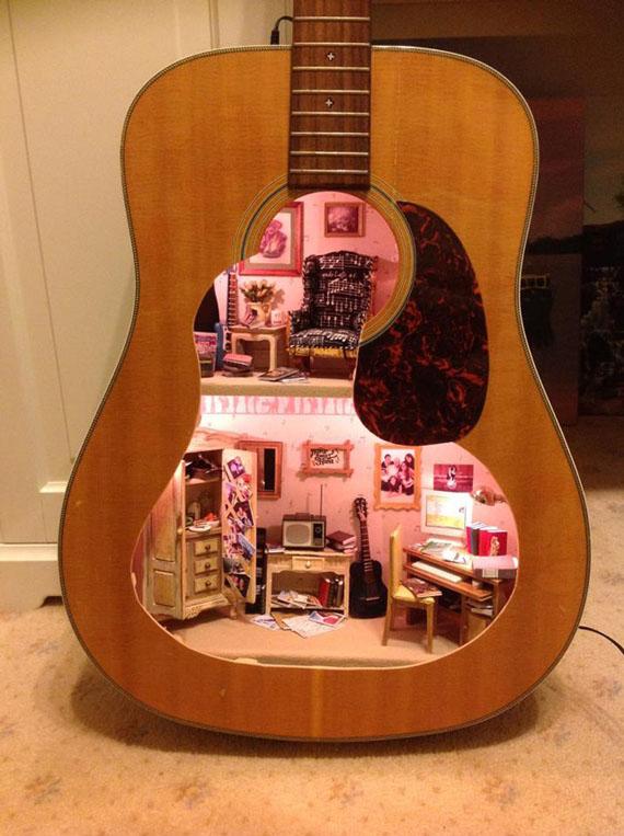 A Dollhouse Built Inside A Guitar