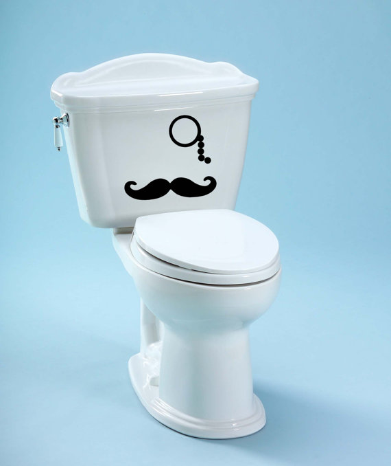 Monocle & Mustache For Your Toilet