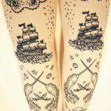 Hand Printed Pirate Tights