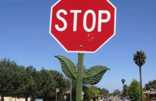 Stop Sign Knitted Flower