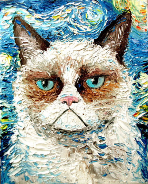 Grumpy Cat In The Style Of Starry Night