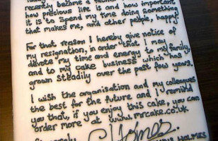 Man Resigns From Job With A Cake