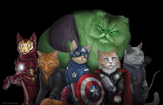 Cats As Comicbook Superheroes