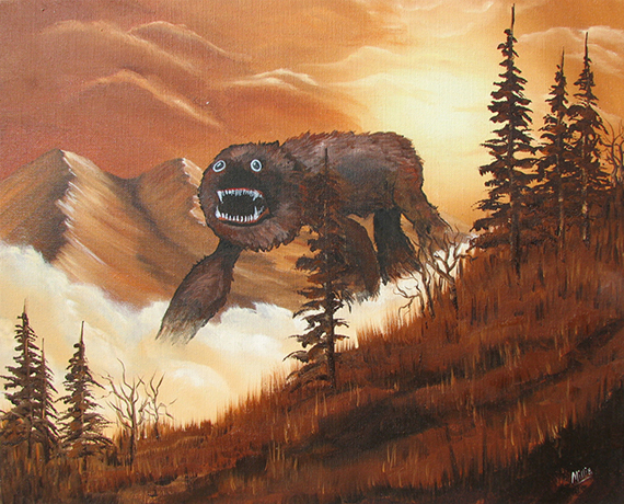 Boring Thrift Store Paintings Get Jazzed Up With Monsters