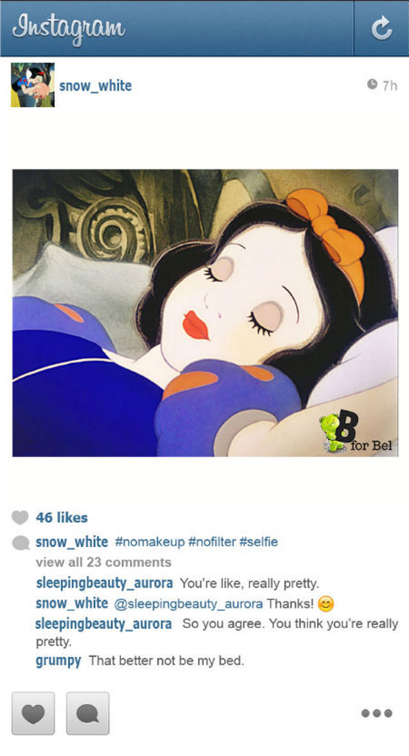 if disney princesses had instagram pictures to pin on