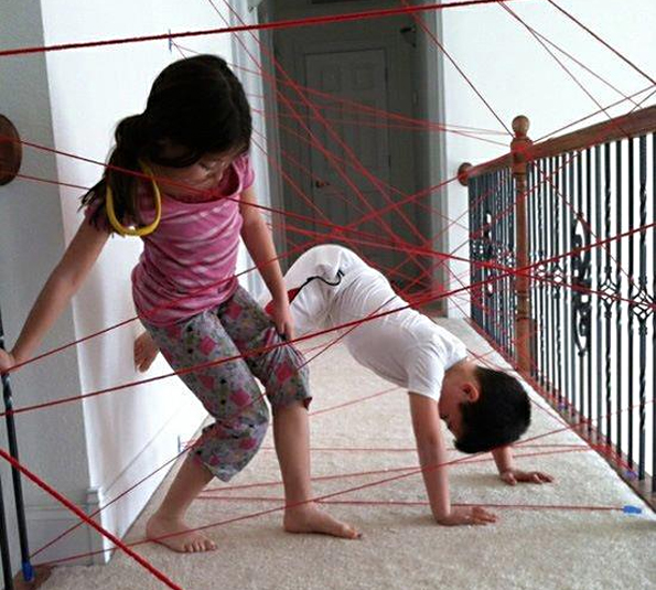 Make a Laser Grid Obstacle Course Out of Yarn