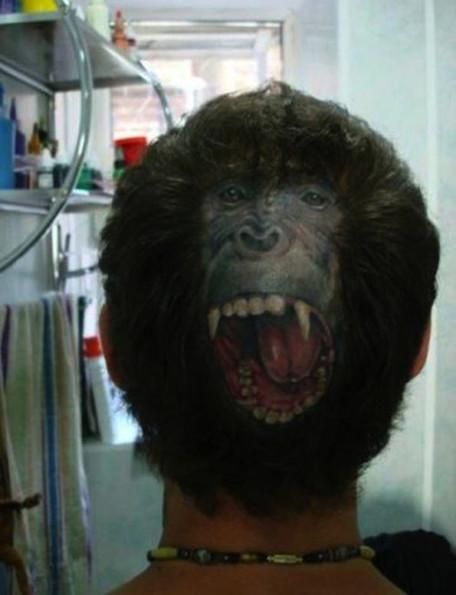 Badass Monkey Tattoo/Haircut