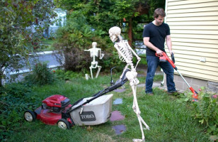 Caption This: Skeleton Yard Work [Closed]