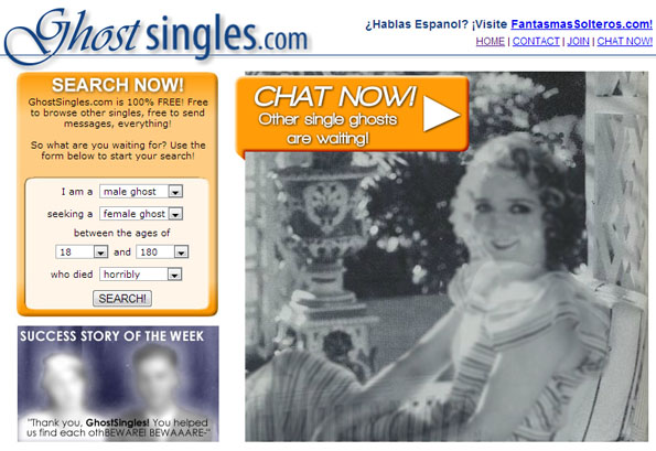 Ghost singles is a dating site for ghosts