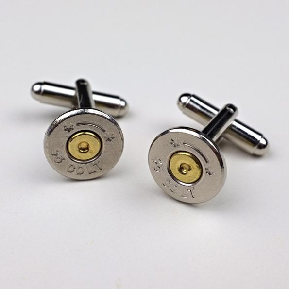 .45 Colt Nickel Bullet Cufflinks