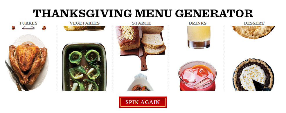 Don't Visit While Hungry: Thanksgiving Menu Generator
