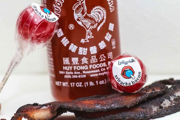 Bacon-Sriracha Lollipops