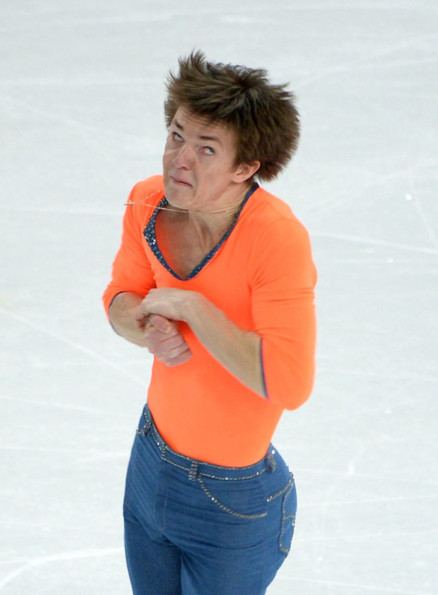 Figure Skaters Mid-Spin, Funny Face