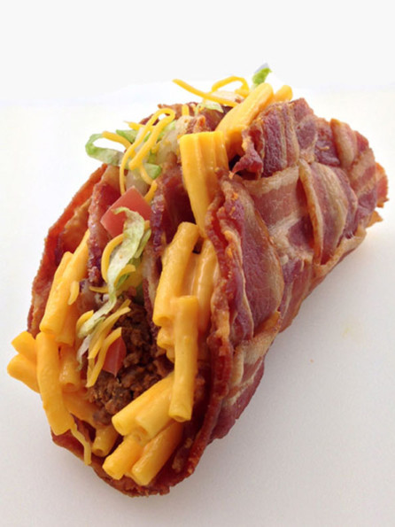 Mac & Cheese Bacon Weave Taco