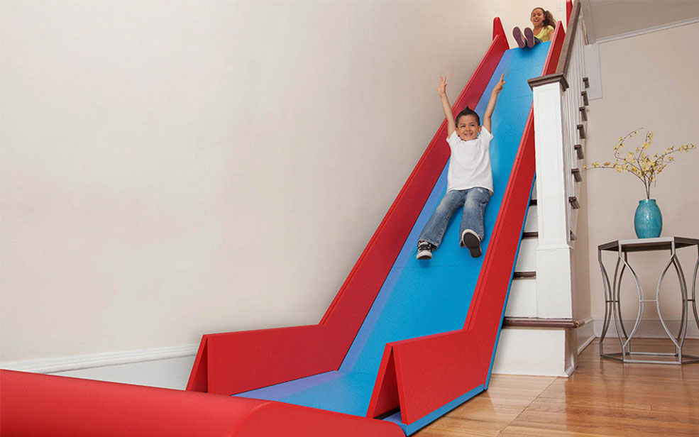 the sliderider turns stairs into a slide incredible things. Black Bedroom Furniture Sets. Home Design Ideas