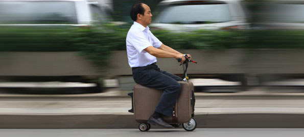 Old Suitcases Upcycled Into... Motorized Scooters?