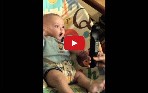 This Baby Sees A Remote Amp He Just Can T Handle It