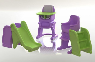 Kids Furniture Works As A High Chair, Step Stool, And Slide