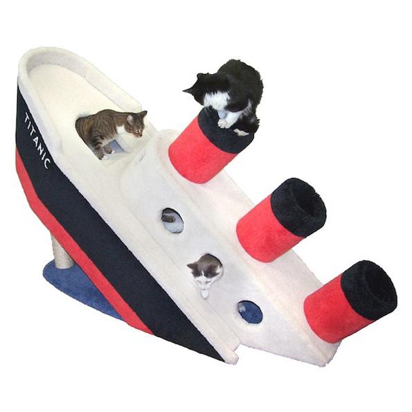 Your Kitties NEED This $2,000 Sinking Titanic Cat Condo