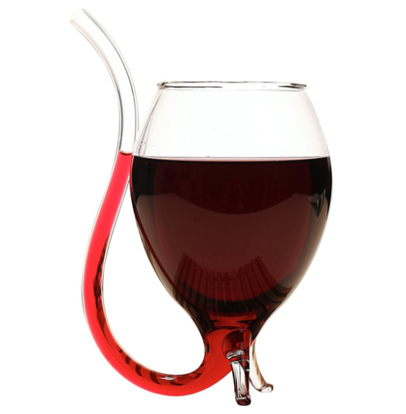 A Wine Glass With A Built In Straw Because You're Classy