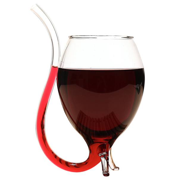 a wine glass with a built in straw because you u0026 39 re classy